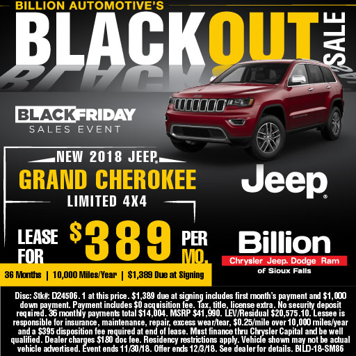 Billion Auto Sioux Falls >> New 2018 Jeep Grand Cherokee Limited Lease Special Billion Auto