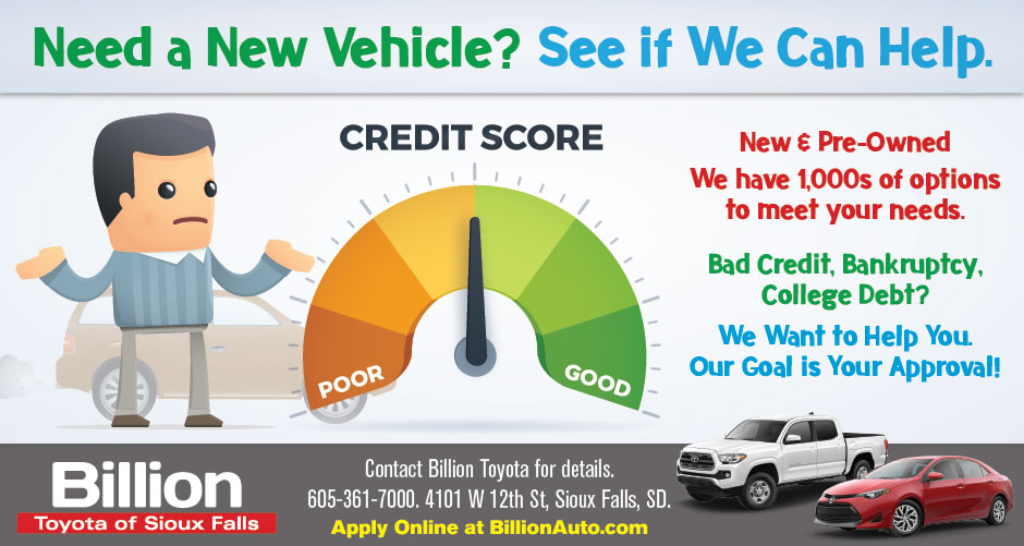 Billion Auto Sioux Falls >> Sioux Falls Toyota Bad Credit Billion Auto