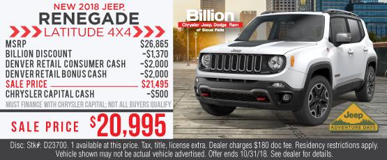 BILD OCT RENEGADE LEASE. BILD OCT PACIFICA LEASE. Sioux Falls Chrysler Jeep  Dodge ...